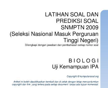 Latihan Soal dan Pembahasan Biologi SNMPTN 2009